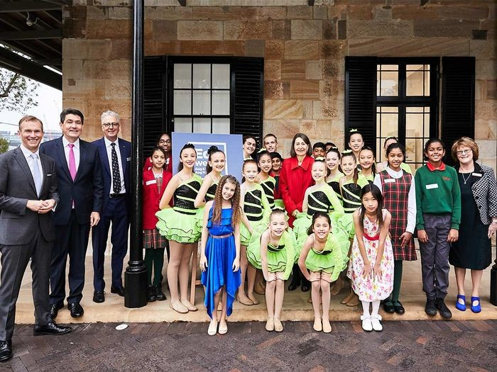 The Premier, Gladys Berejiklian along with a group of members of the Department of Education and student performers.